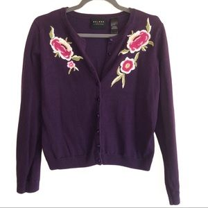 Access Liz Claiborne Purple Embroidered Cardigan